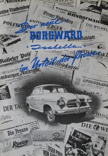 """Borgward Isabella """"Im Urteil der Presse"""" 1954 Automobilprospekt"""