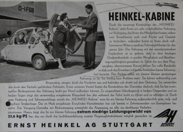 Heinkel Kabine Modellprogramm 1956 AutomobilprospektHeinkel Kabine Modellprogramm 1956 Automobilprospekt