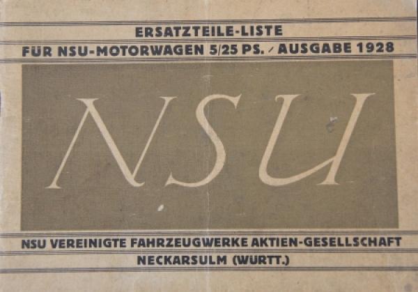 NSU 5/25 PS Motorwagen 1928 Ersatzteilliste