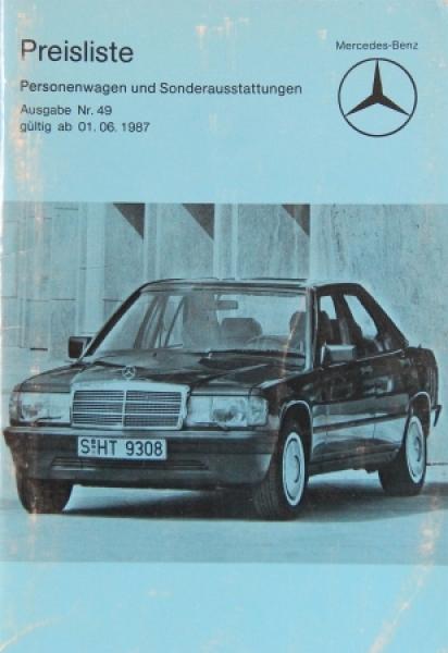 Mercedes Benz Personenwagen Preisliste 1987 Ausgabe 49