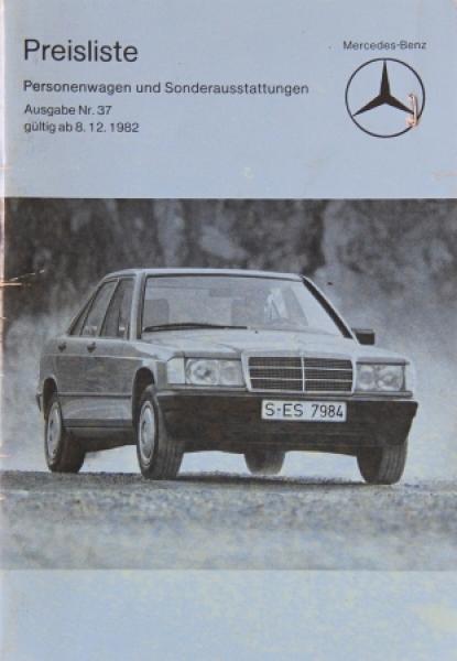 Mercedes Benz Personenwagen Preisliste 1982 Ausgabe 37Mercedes Benz Personenwagen Preisliste 1982 Ausgabe 37Mercedes Benz Personenwagen Preisliste 1982 Ausgabe 37