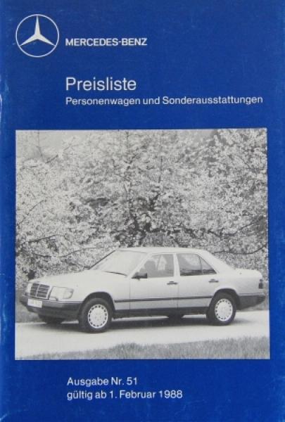 Mercedes Benz Personenwagen Preisliste 1988 Ausgabe 51