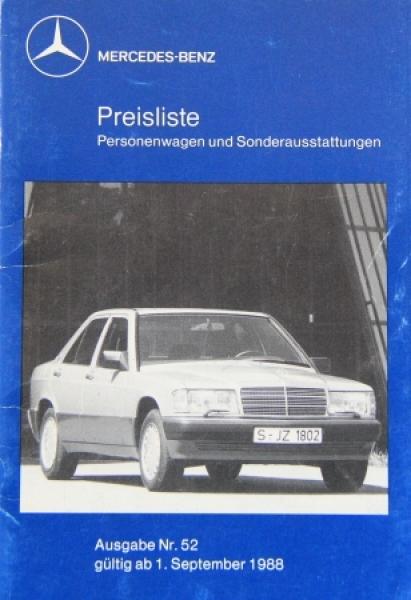Mercedes Benz Personenwagen Preisliste 1988 Ausgabe 52