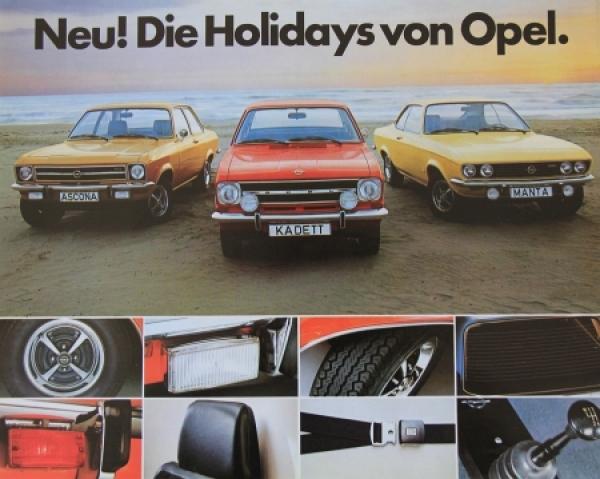 "Opel ""Neu! Die Holidays von Opel"" 1972 Automobilprospekt"