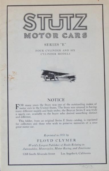 Stutz Motor Cars Series E 1913 Automobilprospekt