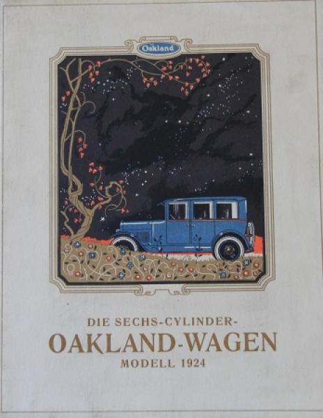 Oakland-Wagen Sechs-Cylinder 1924 Automobilprospekt