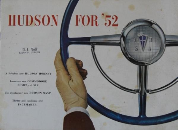 Hudson Modellprogramm 1952 Automobilprospekt
