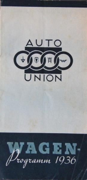 """Auto-Union """"Wagen-Programm"""" 1936 Automobilprospekt"""