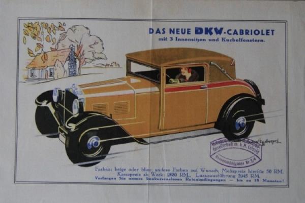 "DKW ""Das neue Cabriolet"" 1932 Automobilprospekt"