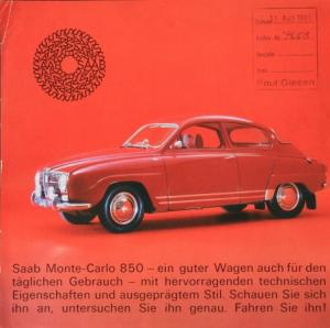 Saab Monte Carlo 850 Automobilprospekt 1965