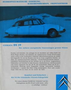 "Citroen DS 19 ""Der sichere europäische Tourenwagen"" 1961 Automobilprospekt"