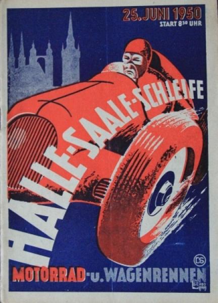 """""""Halle-Saale Schleife Wagenrennen"""" Juni 1950 Rennprogramm"""