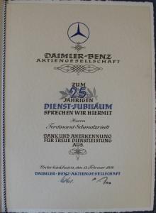 Mercedes-Benz Urkunde - 25jähriges Dienstjubiläum Daimler-Benz - 1954