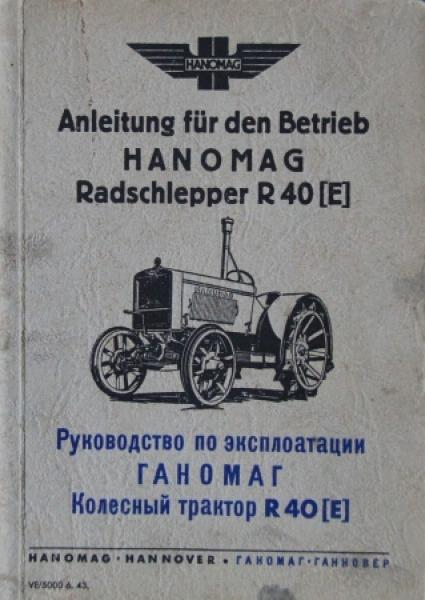 Hanomag Radschlepper R 40 Betriebsanleitung 1943