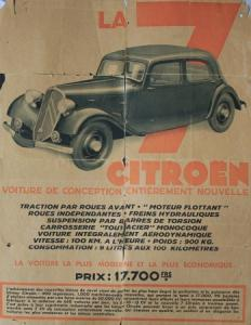 Citroen Traction Avant La 7 Automobil-Plakatprospekt 1934