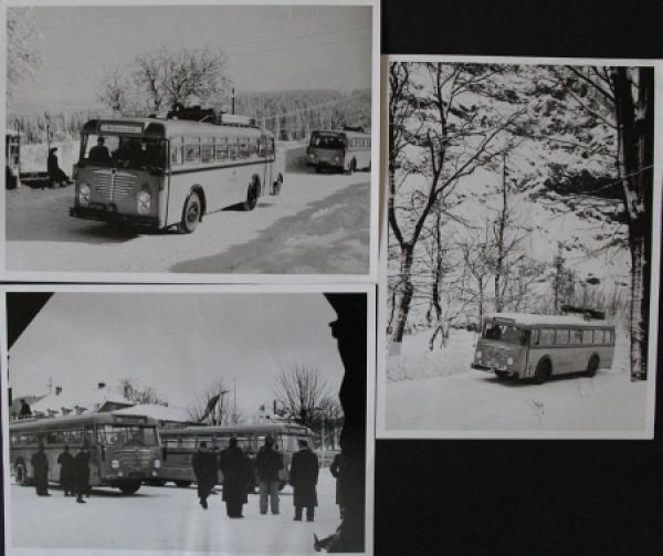 Büssing-NAG Busse im winterlichen Harz 3 Werksphotos 1954