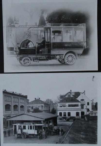 """Büssing Bus """"Kaiserlich Bayrischer Postwagen"""" 2 Werksphotos 1909"""
