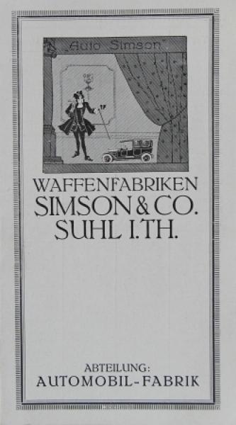 Waffenfabrik Simson Typ B bis D Automobilprospekt 1924