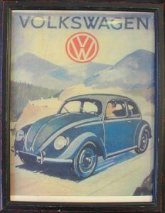 Volkswagen Käfer Werbemotiv gerahmt 1948