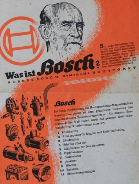 """Bosch Modellprogramm """"Was ist Bosch?"""" 1945 Zubehörprospekt"""