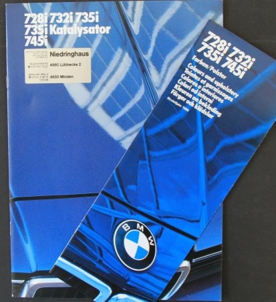 BMW 728i-745i Modellprogramm 1985 + Farbliste Automobilprospekt