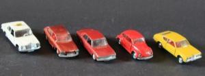 Schuco Konvolut 5 Autos der Marken Ford-Mercedes-VW Metallmodelle 1972