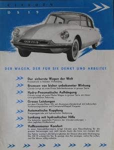 """Citroen DS 19 """"Der Wagen, der für Sie denkt"""" Automobilprospekt 1956"""