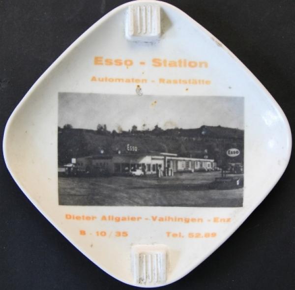 """Esso Werbe-Aschenbecher """"Esso-Station Allgaier Vaihingen"""" 1955"""