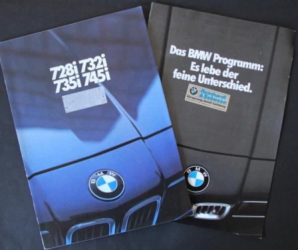 BMW 728i - 745 i Modellprogramm 1979 zwei Automobilprospekte
