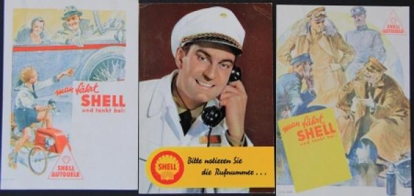 Shell Tankstellen drei Werbepostkarten 1930-1950