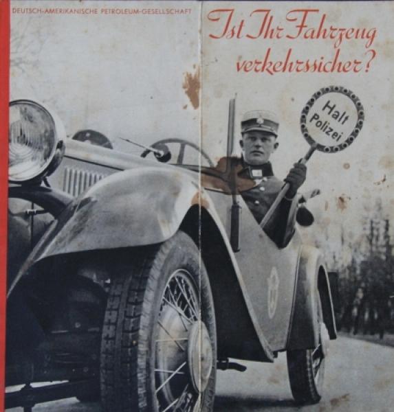"""Esso Motoroel """"Ist Ihr Fahrzeug verkehrssicher?"""" Tankstellen-Werbeprospekt 1932"""