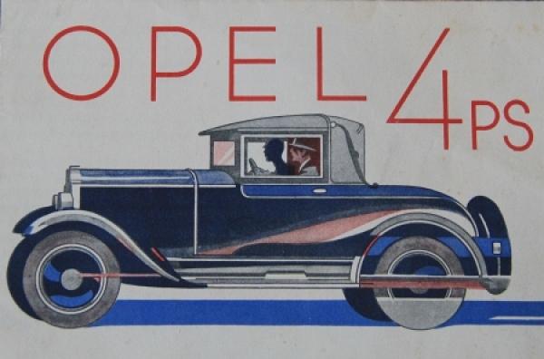 Opel 4 PS Modellprogramm 1928 Automobilprospekt