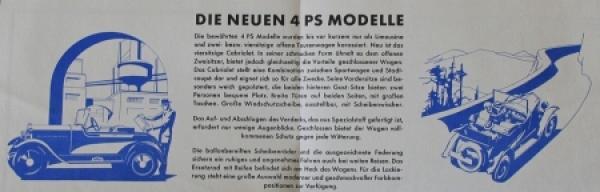 Opel 4 PS Modellprogramm 1928 Automobilprospekt 2