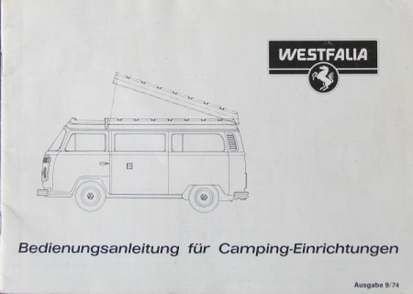 Volkswagen T2 Westfalia Campingwagen 1974 Betriebsanleitung