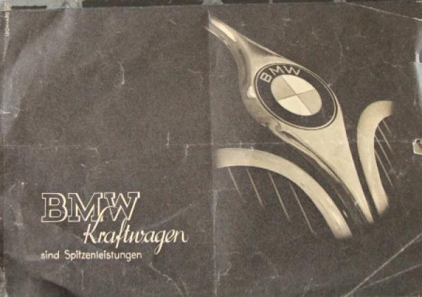 BMW Kraftwagen Modellprogramm 1938 Automobilprospekt