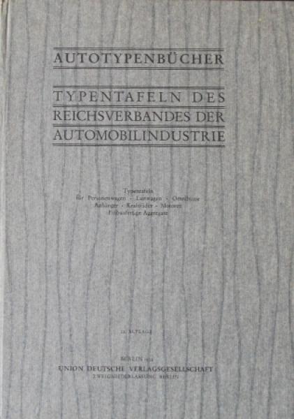 """""""Autotypenbuch - Typentafeln des Reichsverbandes Autoindustrie"""" Automobil-Jahrbuch 1934"""
