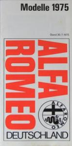 Alfa Romeo Modellprogramm 1975 Automobilprospekt