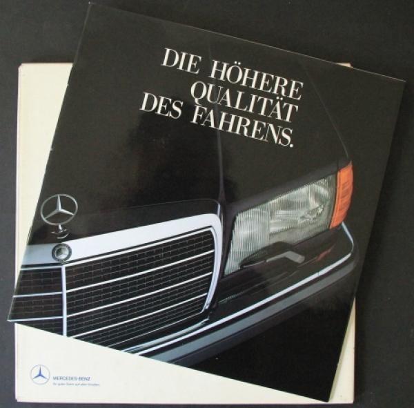 """Mercedes Benz S-Klasse """"Die Höhere Qualität des Fahrens"""" 1987 Automobilprospekt"""