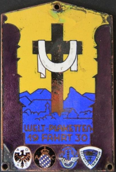 """""""Welt-Plakettenfahrt"""" ADAC - Touringclub 1930 Email-Plakette"""