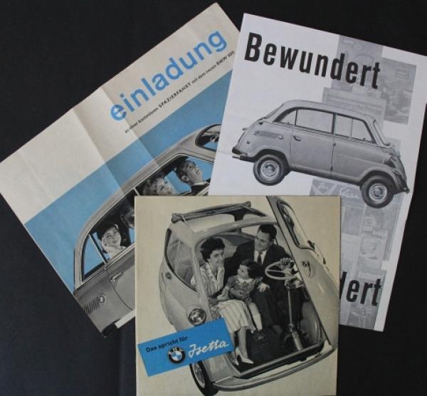 """BMW """"Das spricht für Isetta"""" 3 Automobilprospekte 1956"""
