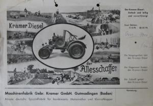 """Kramer Diesel 12-22 PS """"Einfach und billig"""" 1939 Traktorprospekt"""