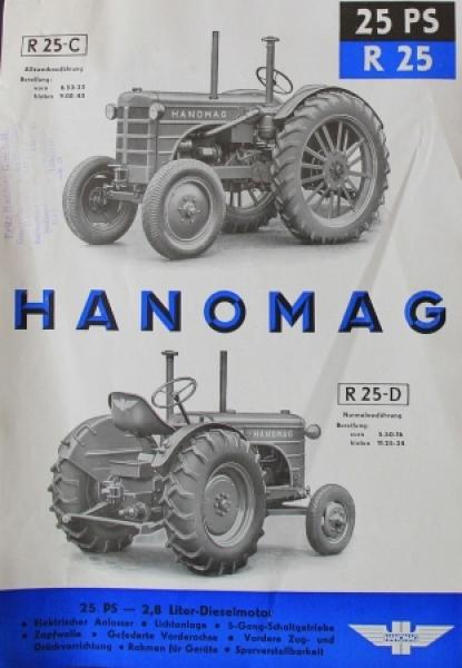 Hanomag R 25-C Diesel 25 PS 1951 Traktorprospekt