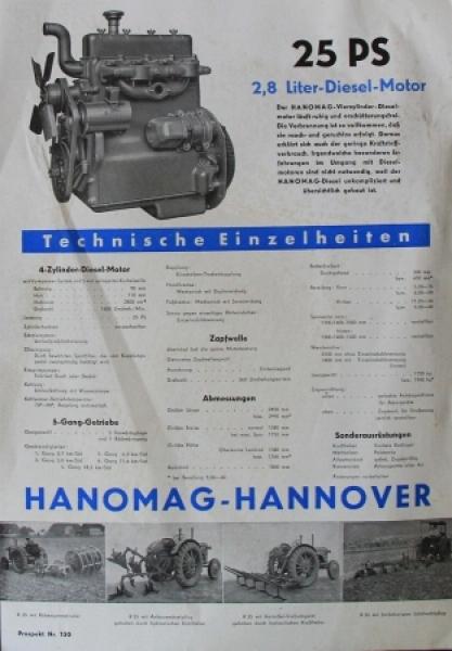 Hanomag R 25-C Diesel 25 PS 1951 Traktorprospekt 1