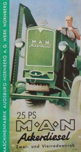 """MAN Ackerdiesel 25 PS """"Die Arbeitsmaschine"""" 1952 Traktorprospekt"""