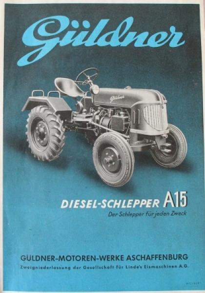 Güldner A15 Dieselschlepper 1949 Traktorprospekt