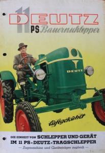 Deutz 11 PS Bauernschlepper 1955 Traktorprospekt