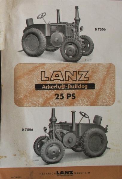 Lanz Bulldog Ackerluft 25 PS D 7506 Traktorprospekt 1939