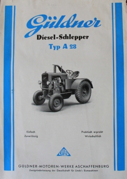 Güldner A28 Dieselschlepper 1948 Traktorprospekt