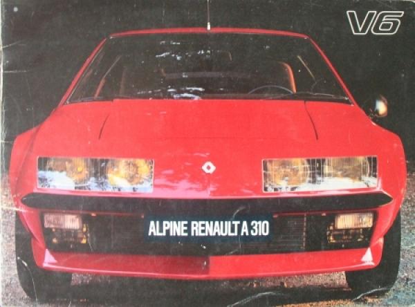 Renault Alpine A 310 V6 Automobilprospekt 1976