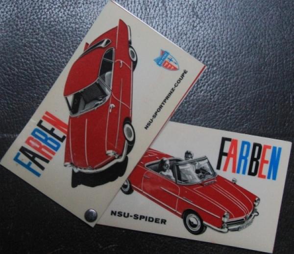 NSU Sportprinz Coupe Spider Farbtafeln 1964